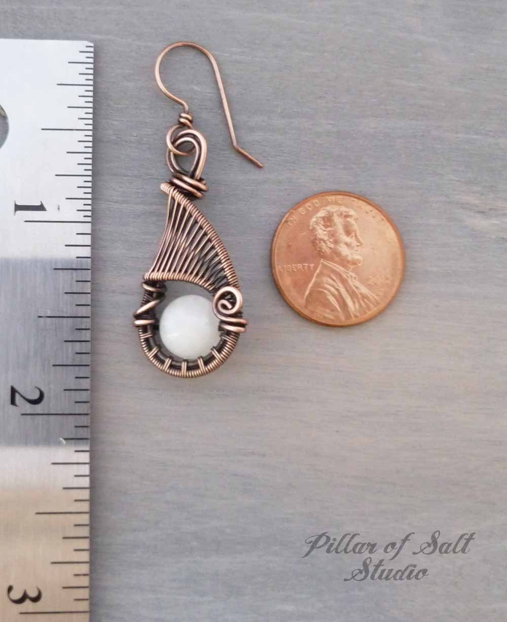 White Quartz and Copper Woven Wire Wrapped Earrings