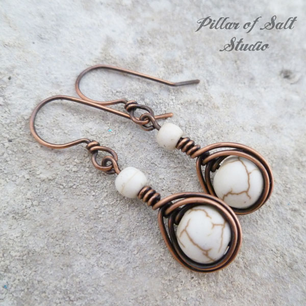 Copper wire wrapped earrings / earthy jewelry by Pillar of Salt Studio