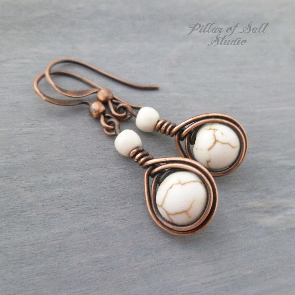 Copper wire wrapped earrings / earthy jewelry by Pillar of Salt Studio