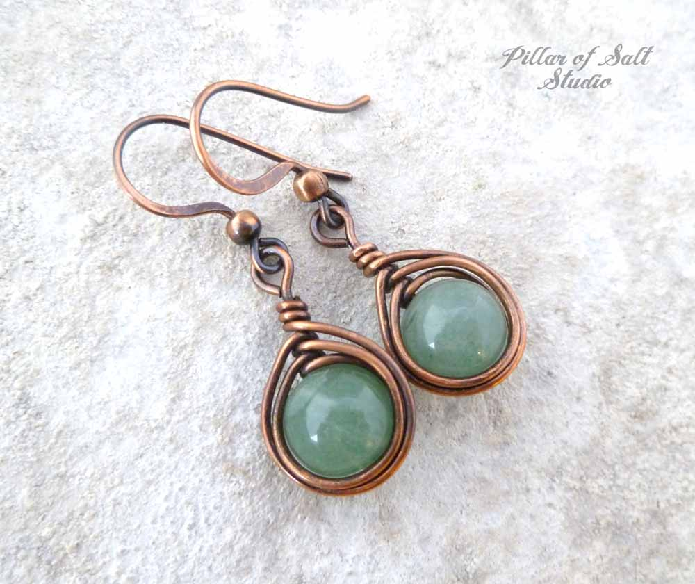green aventurine earrings copper jewelry by Pillar of Salt Studio