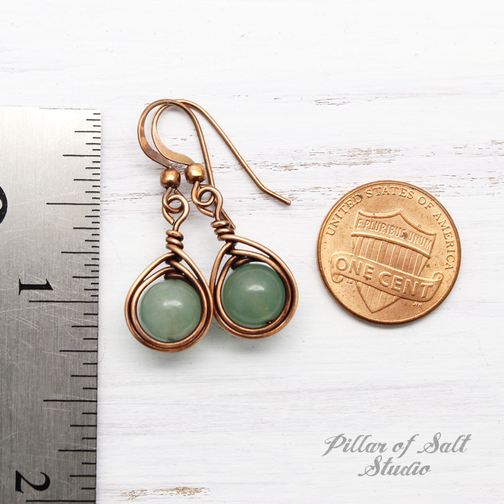 Copper Wire wrapped earrings with Green Aventurine stones / herringbone teardrop wrap