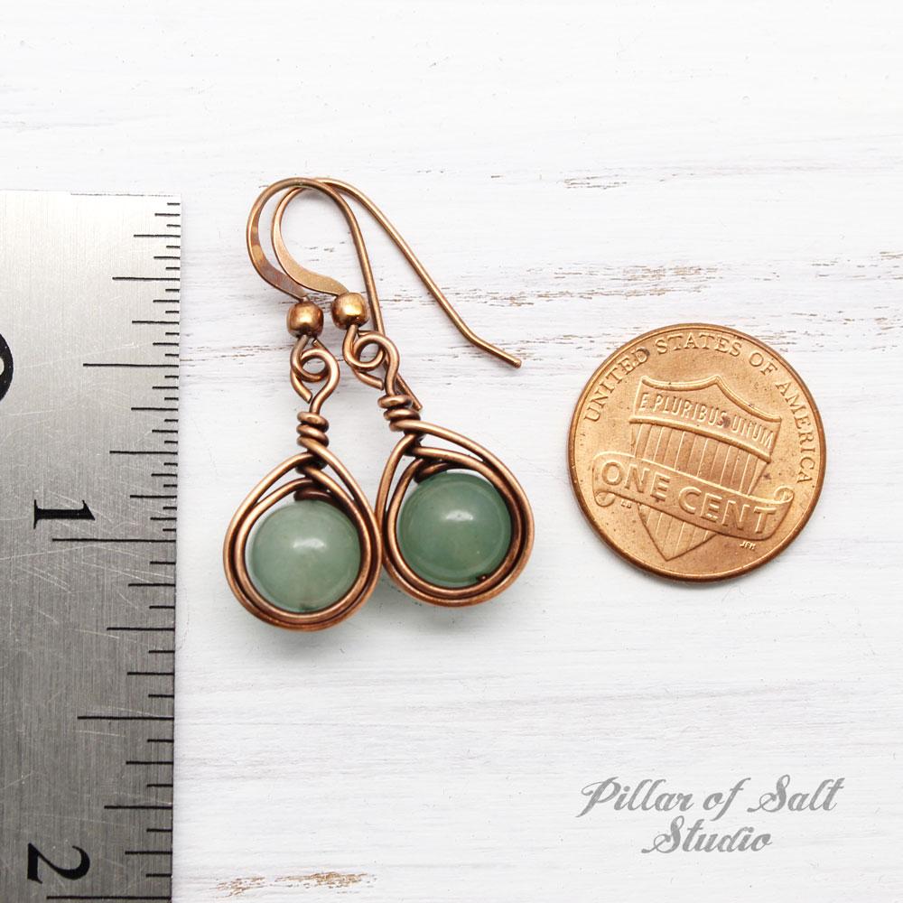 Copper Wire wrapped earrings with Green Aventurine stones / herringbone teardrop wrap