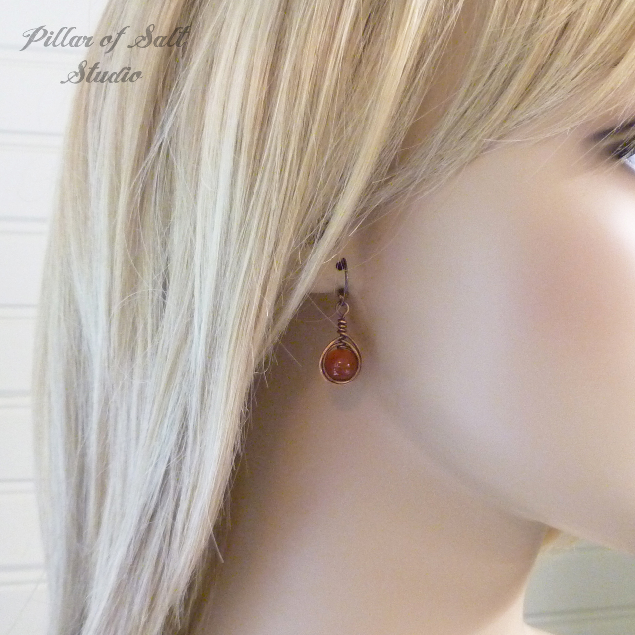 Copper Wire wrapped earrings with Red Carnelian stones