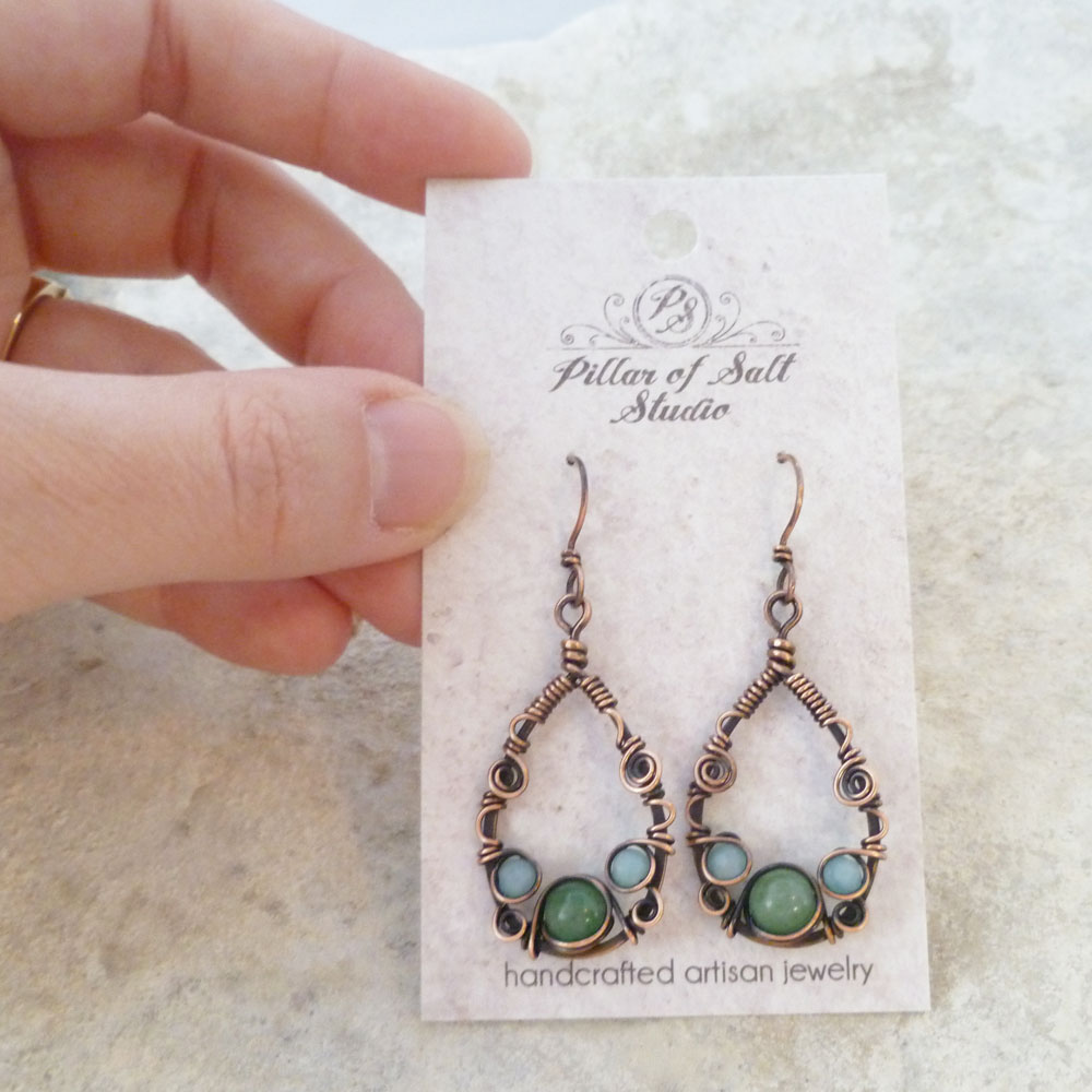 Teardrop Wire wrapped earrings by Pillar of Salt Studio