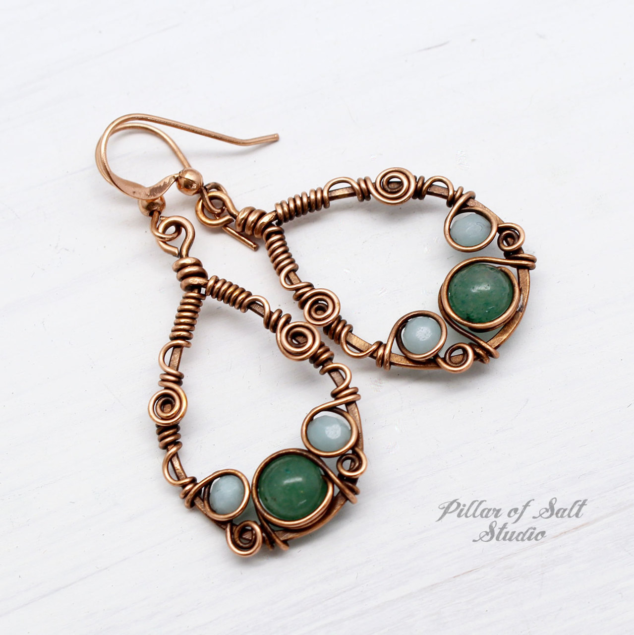 Teardrop Wire Wrapped Earrings Copper version with Amazonite and Green Aventurine