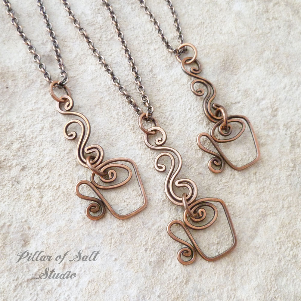 coffee cup necklace by Pillar of Salt Studio