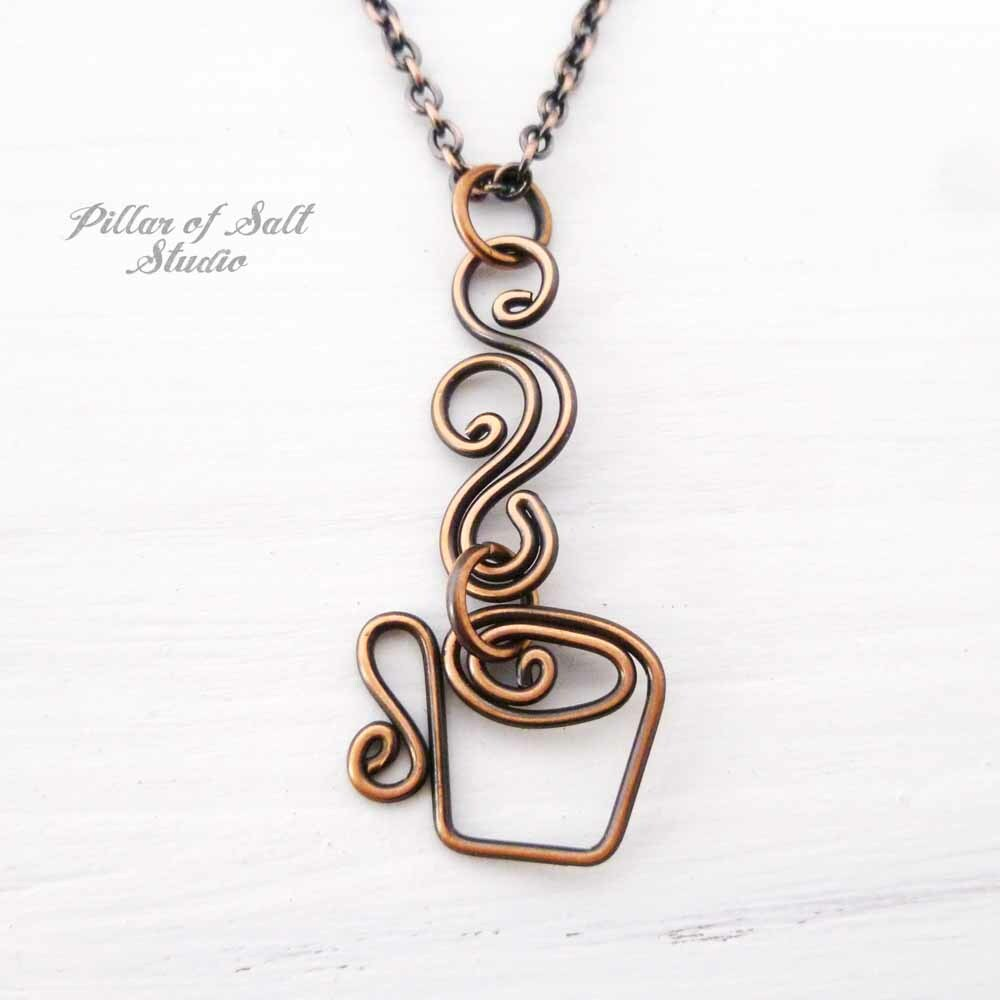 coffee mug necklace handcrafted by Pillar of Salt Studio