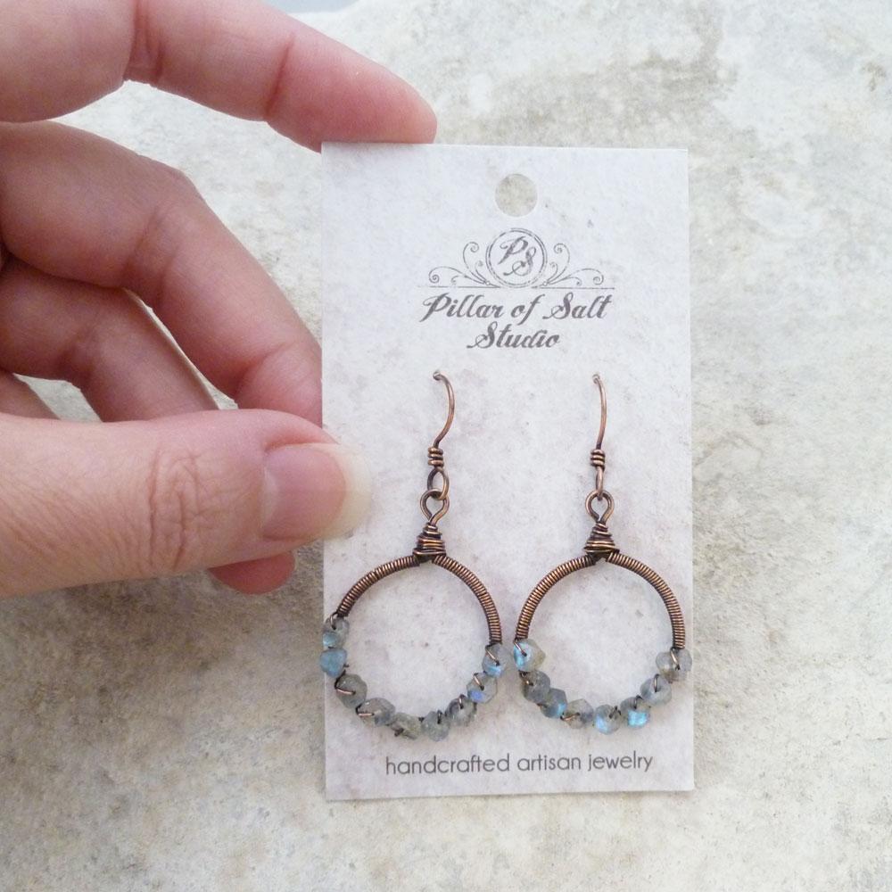 Labradorite copper earrings