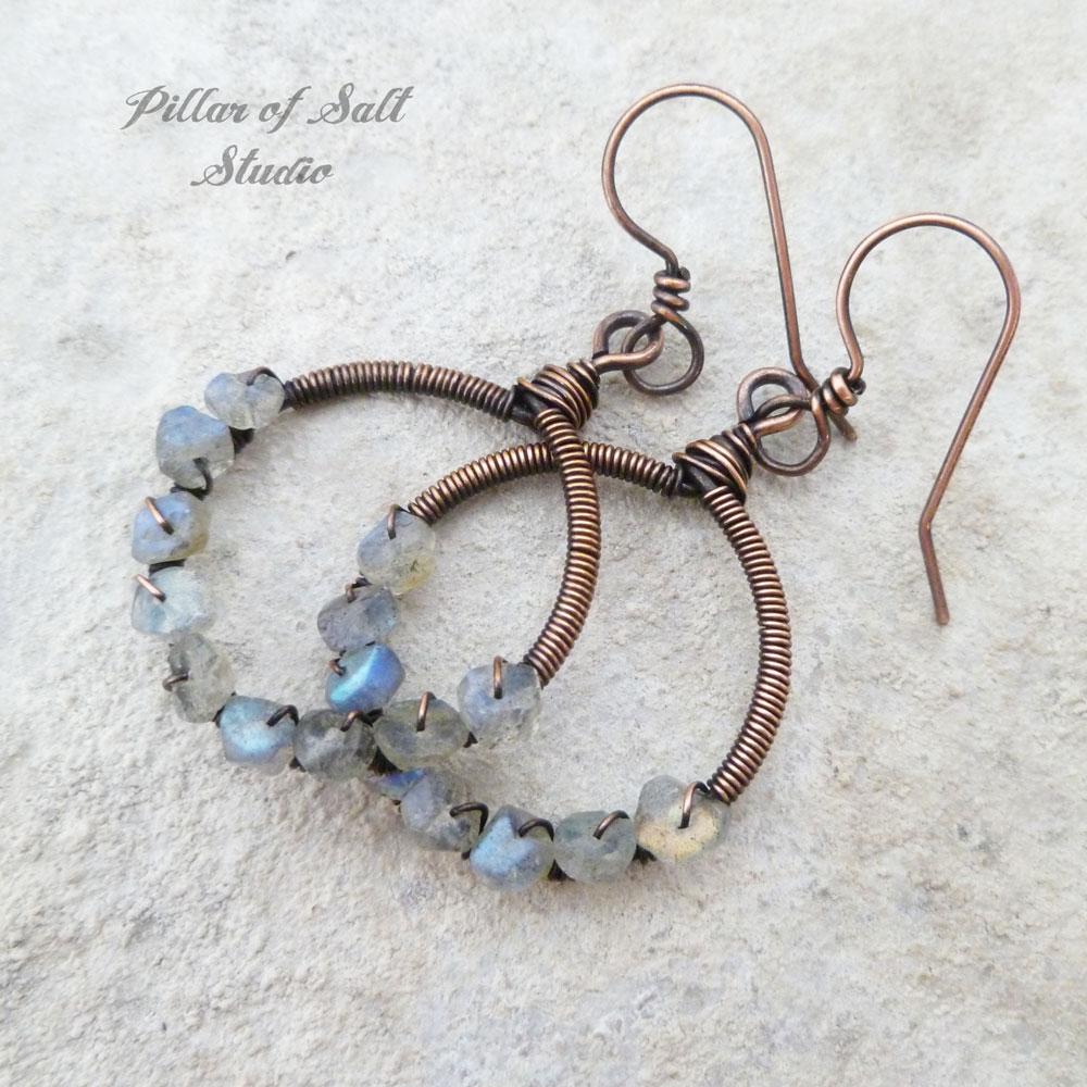 Labradorite copper earrings wire wrapped jewelry by Pillar of Salt Studio