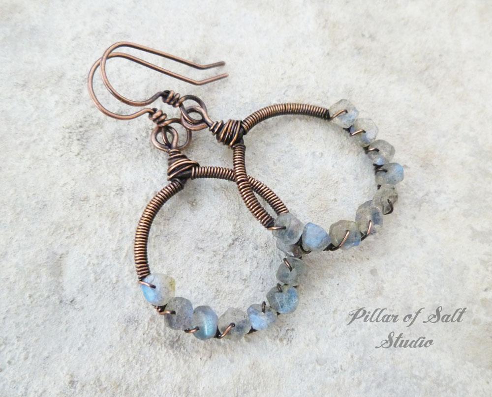 Labradorite copper hoop earrings wire wrapped jewelry by Pillar of Salt Studio