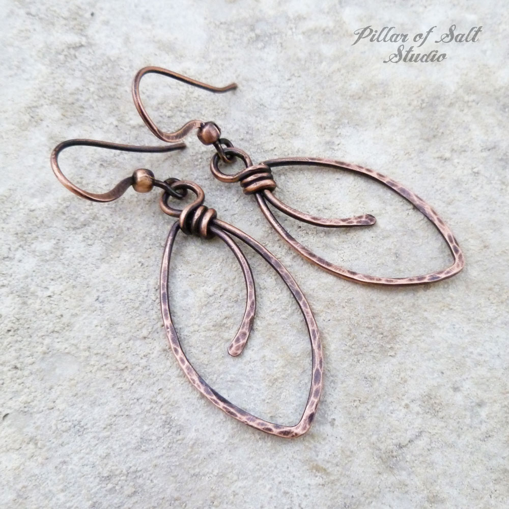Marquis Shape Hammered Copper Wire Wrapped Earrings Pillar Of