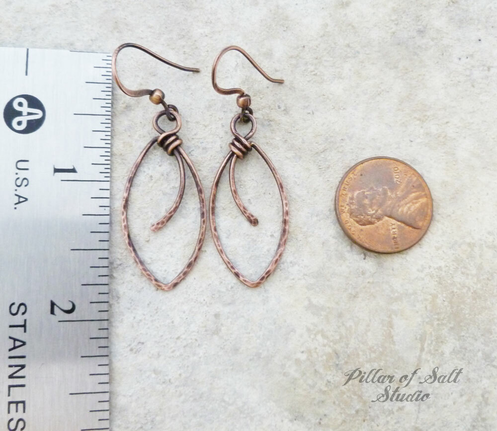 Solid copper earrings / Pillar of Salt Studio wire wrapped jewelry