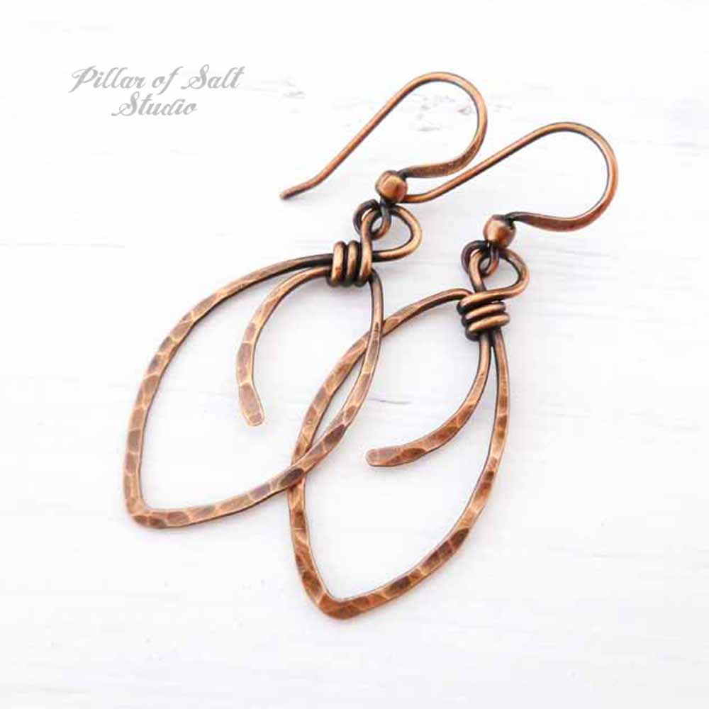 hammered copper marquis earrings by Pillar of Salt Studio