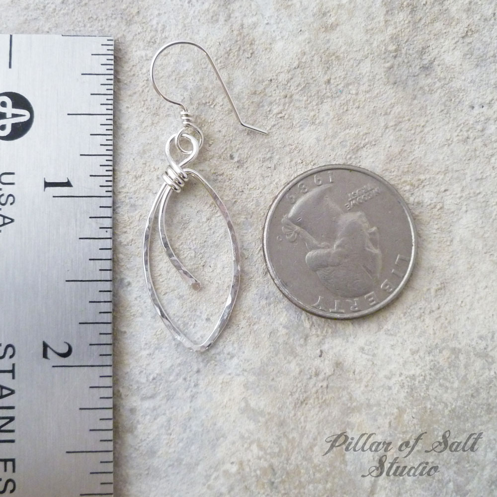 hammered marquis shaped sterling silver earrings / Pillar of Salt Studio wire wrapped jewelry