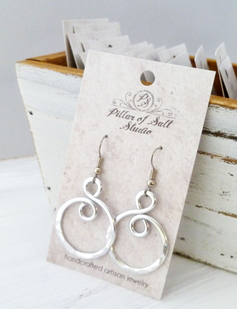 Hammered Aluminum infinity spiral wire wrapped earrings handcrafted by Pillar of Salt Studio