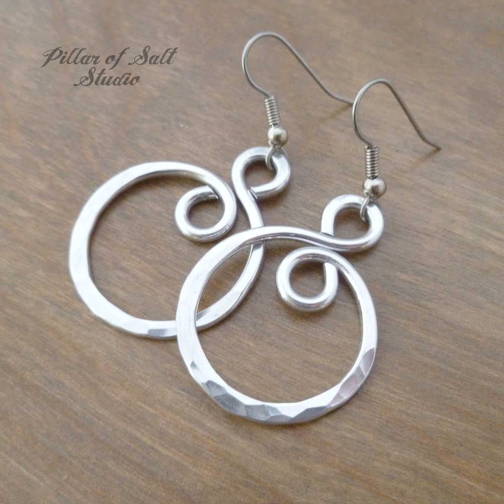 Hammered infinity spiral Aluminum earrings