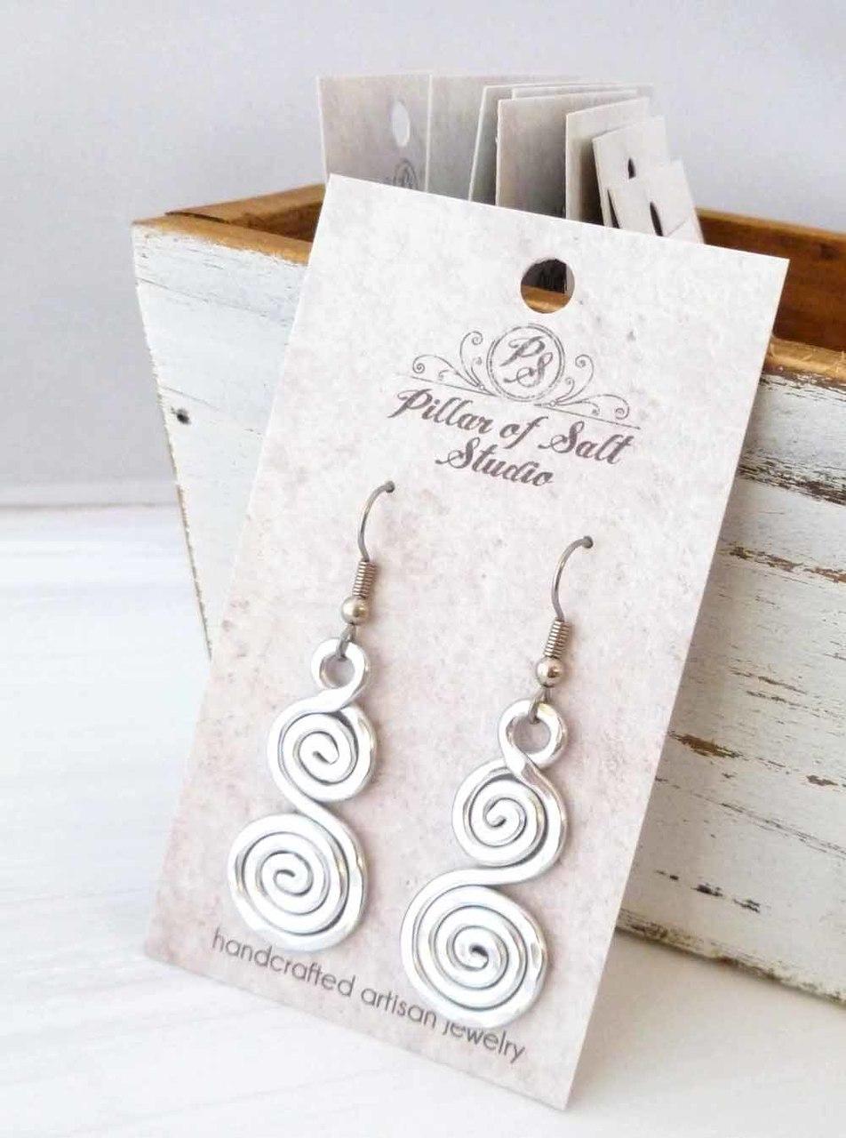 hammered aluminum double spiral earrings by Pillar of Salt Studio