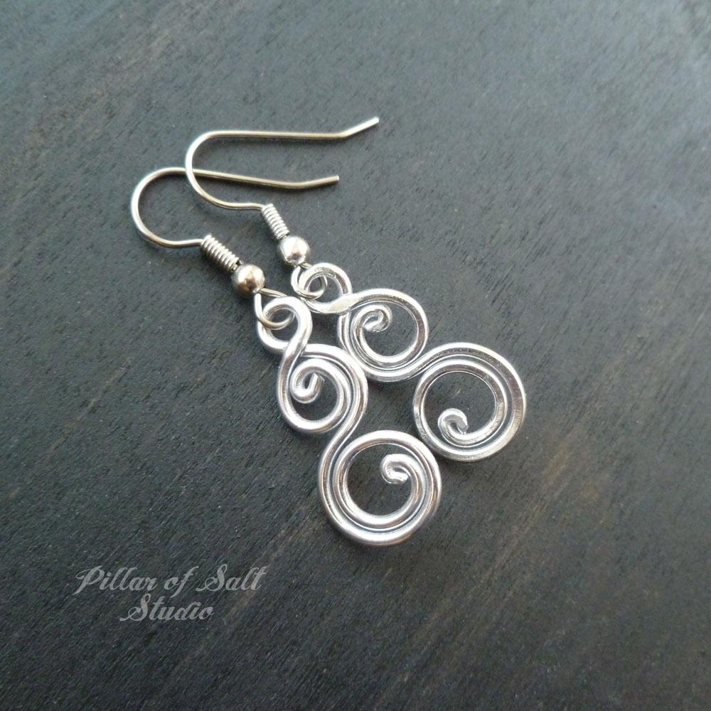 Silver-tone aluminum earrings by Pillar of Salt Studio