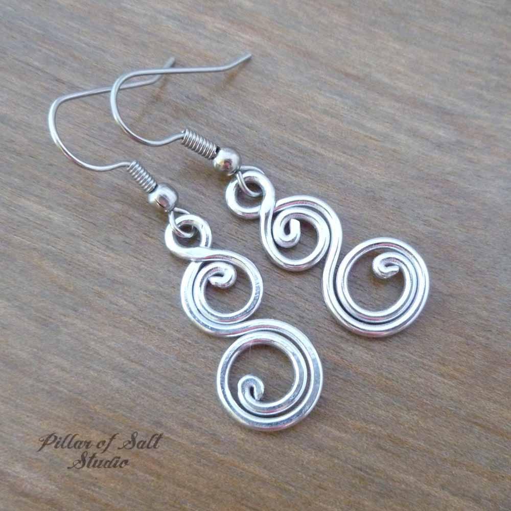 silver aluminum spiral earrings