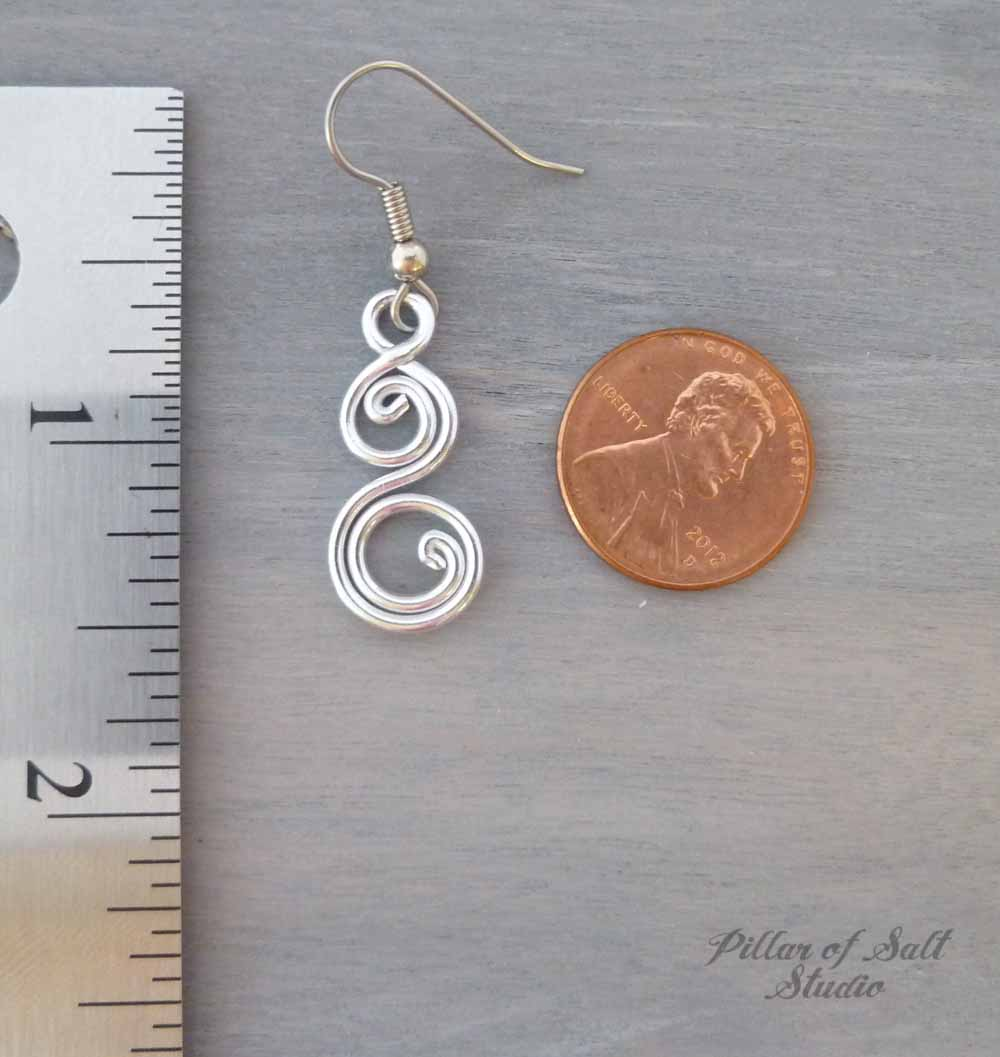 Aluminum earrings double spiral curlique