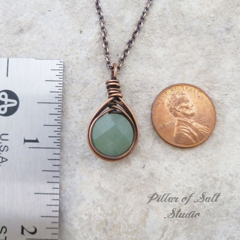 Green Aventurine Wire Wrapped Pendant Copper Necklace