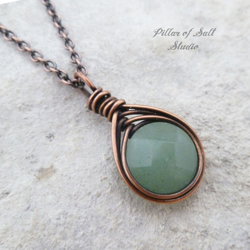 Green Aventurine Wire Wrapped Pendant Copper Necklace