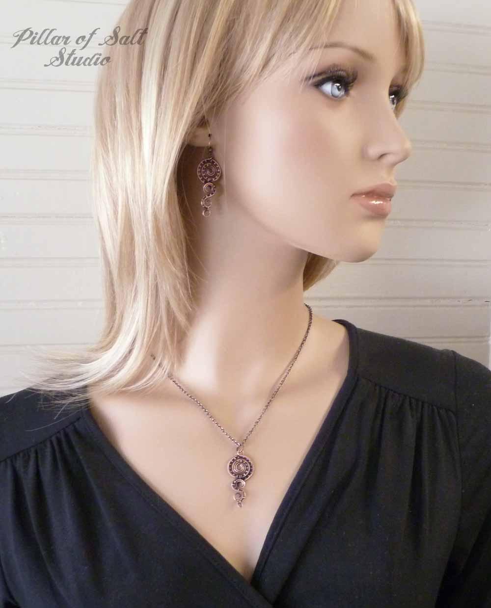 matching copper earring and necklace set