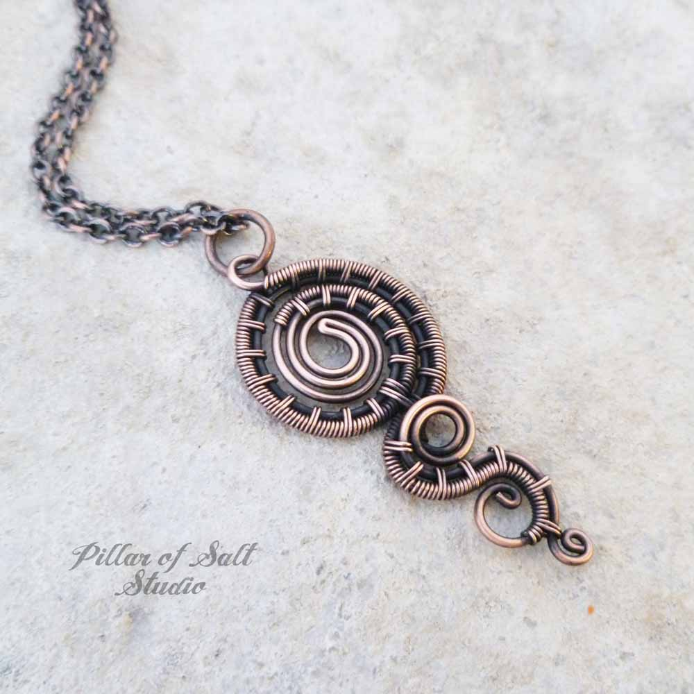 Dripping Spiral Wire Wrapped Pendant Necklace