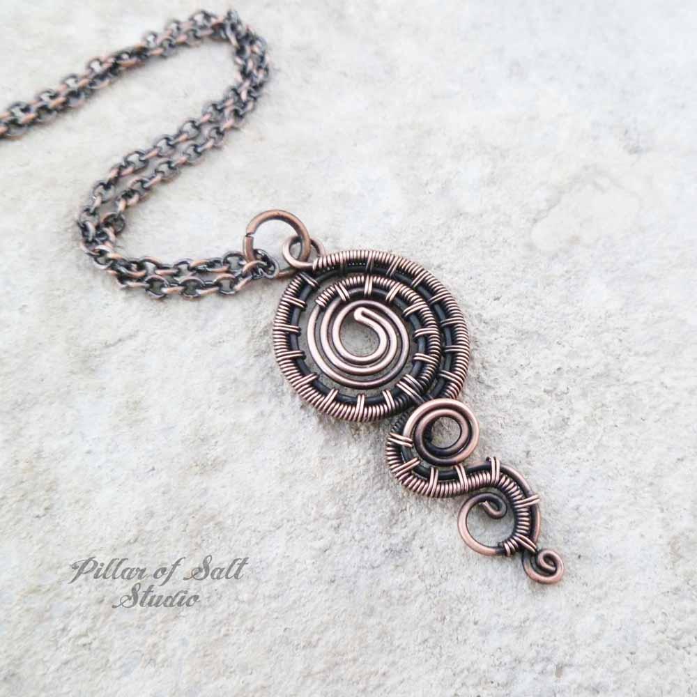 woven wire copper pendant necklace