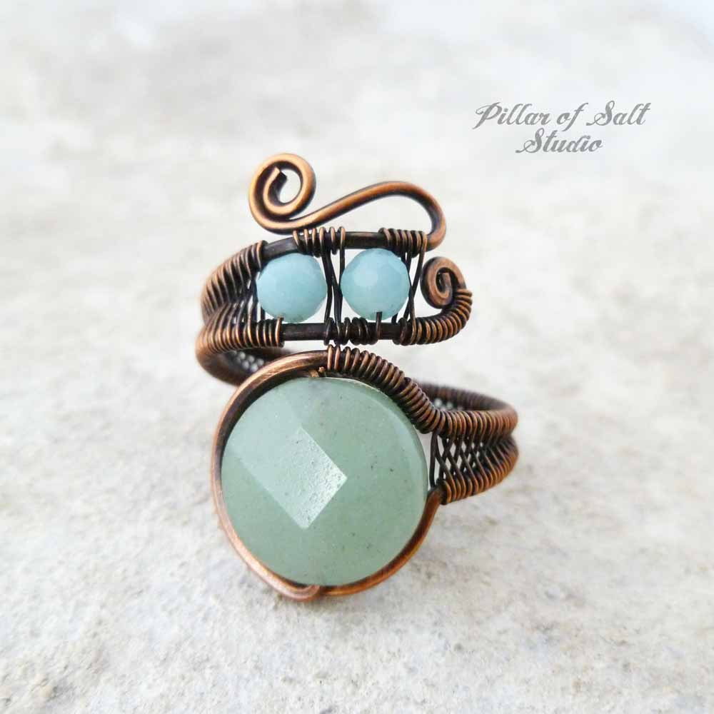 copper wire wrapped ring by Pillar of Salt Studio