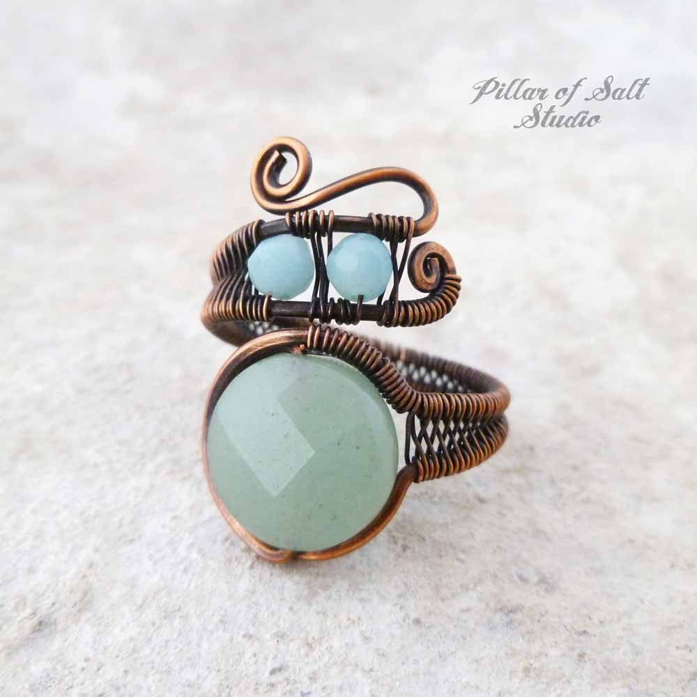 Green aventurine and amazonite copper wire wrapped ring by Pillar of Salt Studio