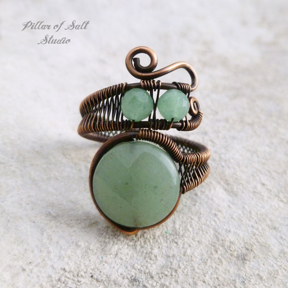 Green aventurine copper wire wrapped ring by Pillar of Salt Studio