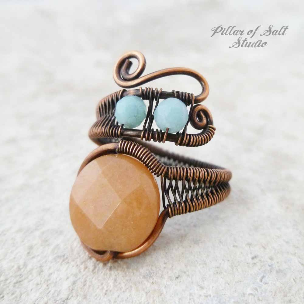 Red aventurine and amazonite copper wire wrapped ring by Pillar of Salt Studio