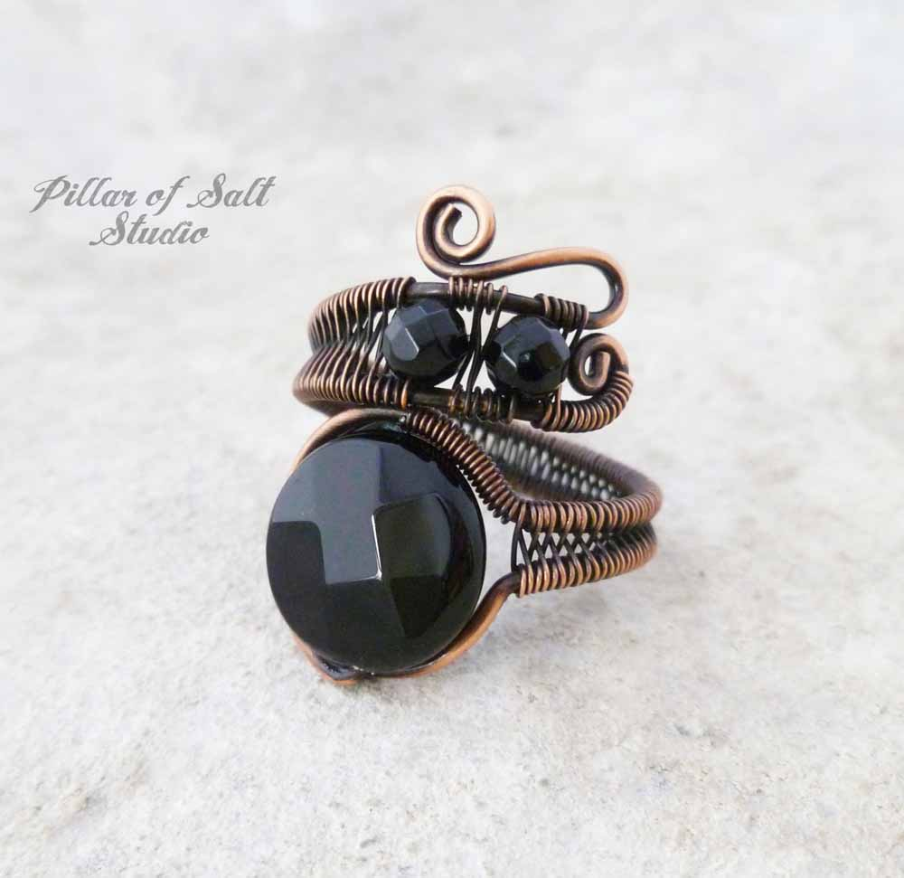 woven wire wrapped ring black onyx by Pillar of Salt Studio