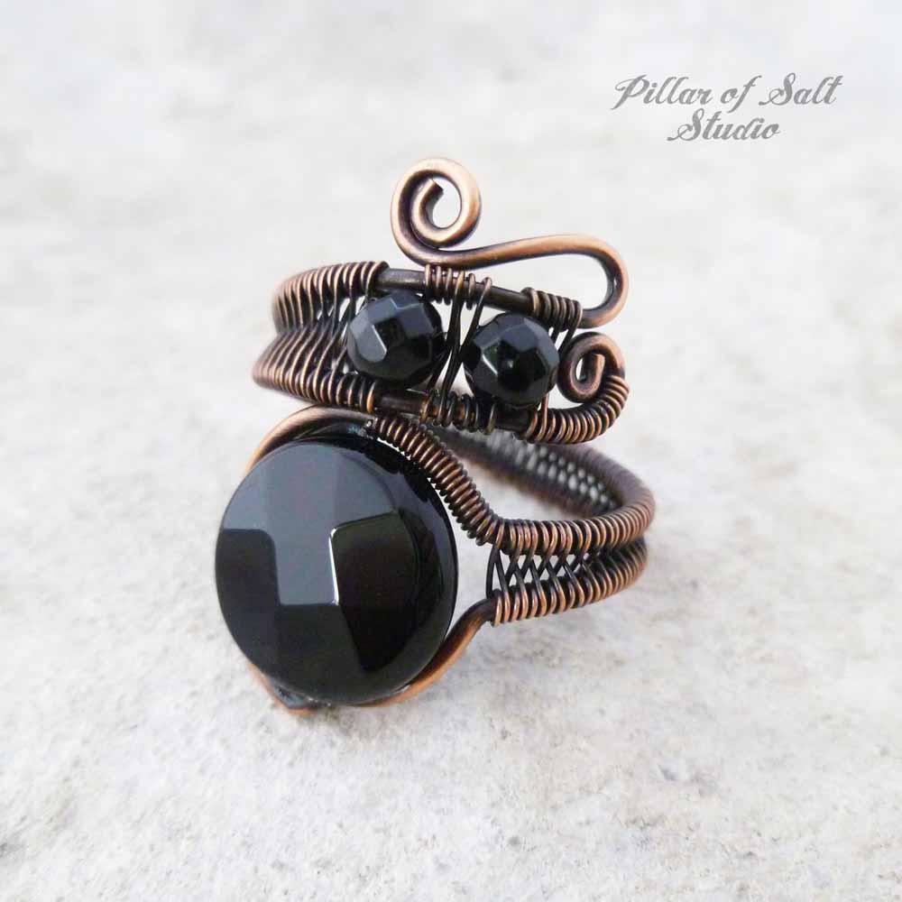 Black Onyx wire wrapped ring by Pillar of Salt Studio