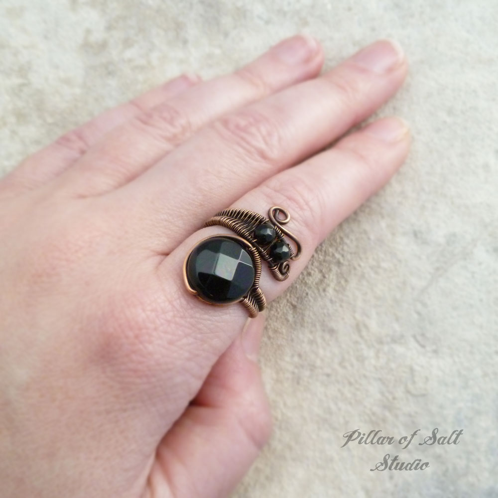 copper wire wrapped adjustable ring by Pillar of Salt Studio
