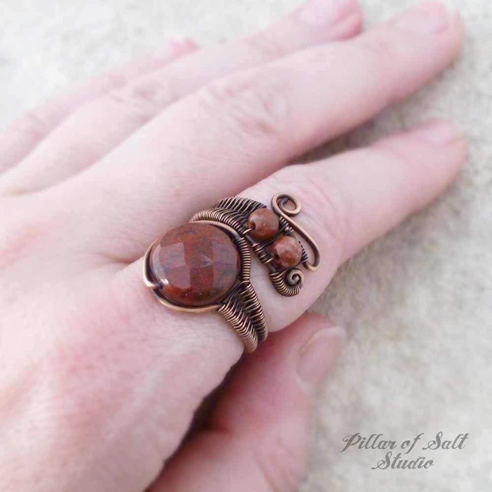 Red Poppy Jasper copper wire wrapped ring by Pillar of Salt Studio