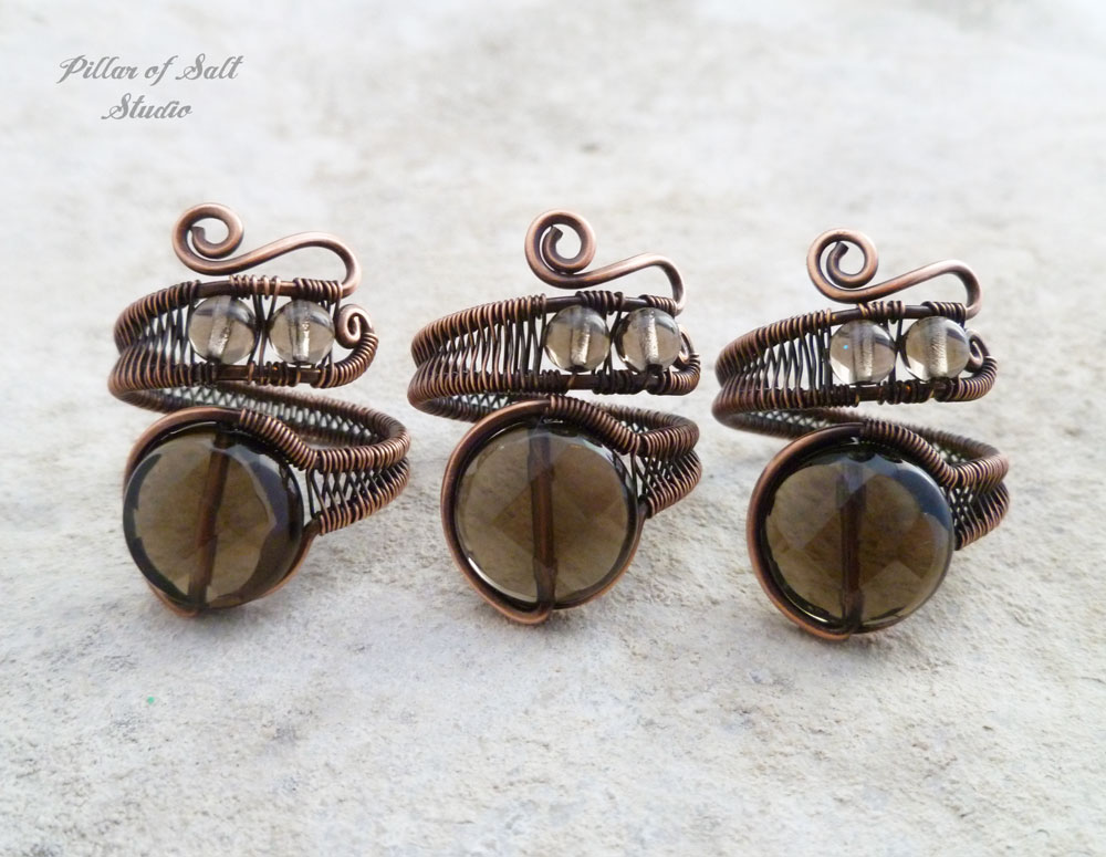 wire wrapped Smoky Quartz rings by Pillar of Salt Studio