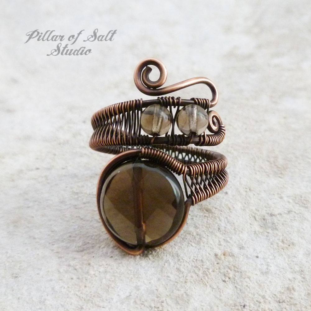 Smoky Quartz wire wrapped ring by Pillar of Salt Studio