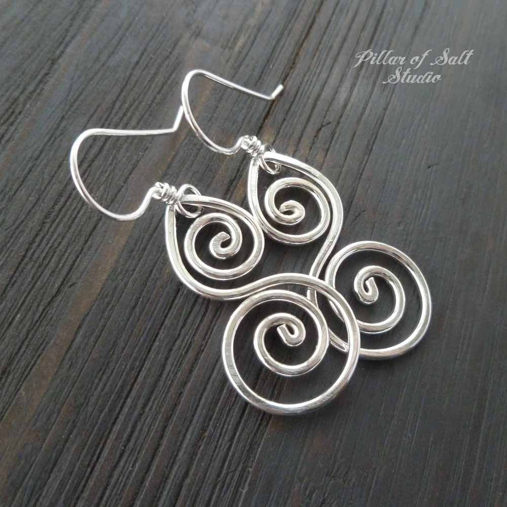 shiny sterling silver earrings / Pillar of Salt Studio wire wrapped jewelry