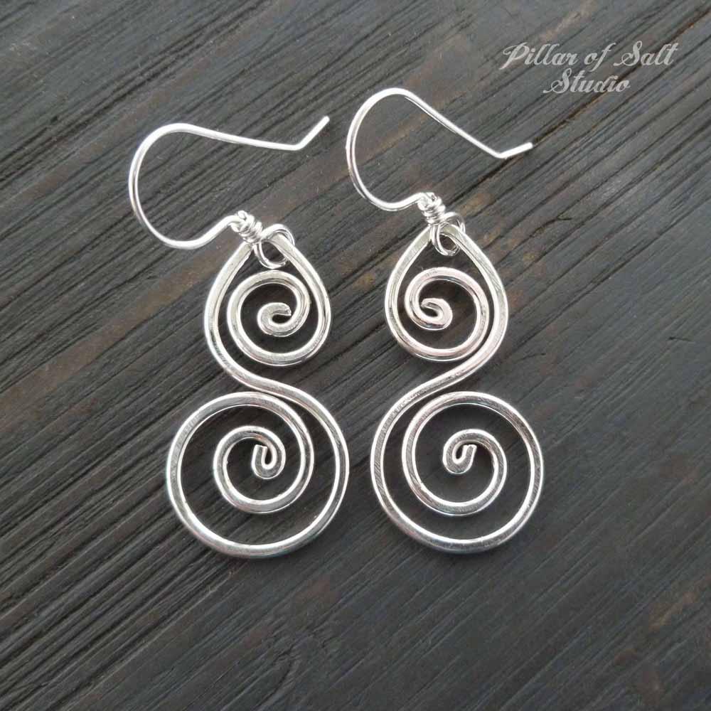 4c24bcdd2 shiny sterling silver earrings / Pillar of Salt Studio wire wrapped jewelry  Sterling Silver Double Spiral Earrings ...