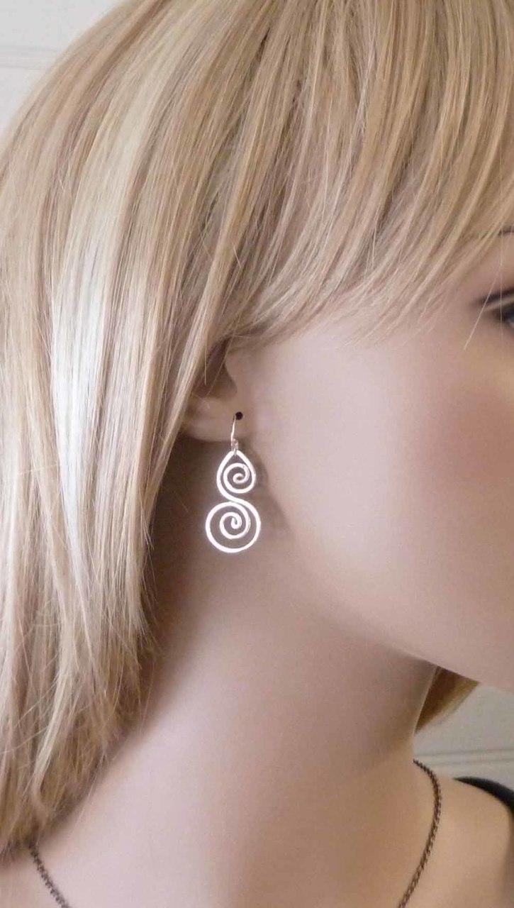 shiny sterling silver earrings / Pillar of Salt Studio wire wrapped jewelry
