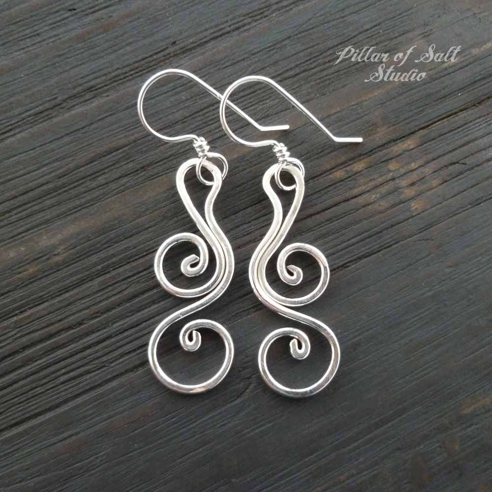 sterling silver wire wrapped earrings / Pillar of Salt Studio handcrafted jewelry