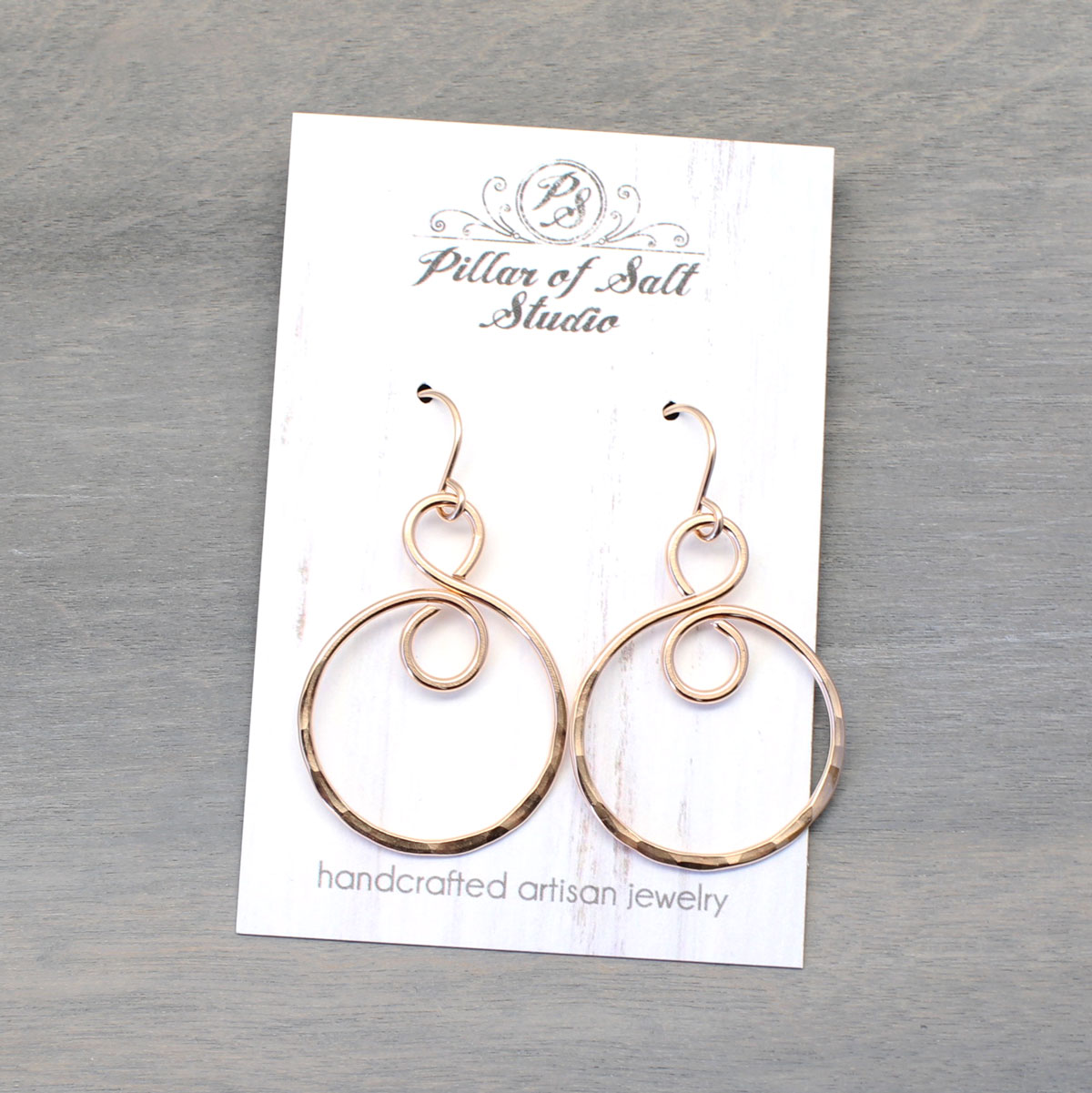 hammered rose gold earrings by Pillar of Salt Studio