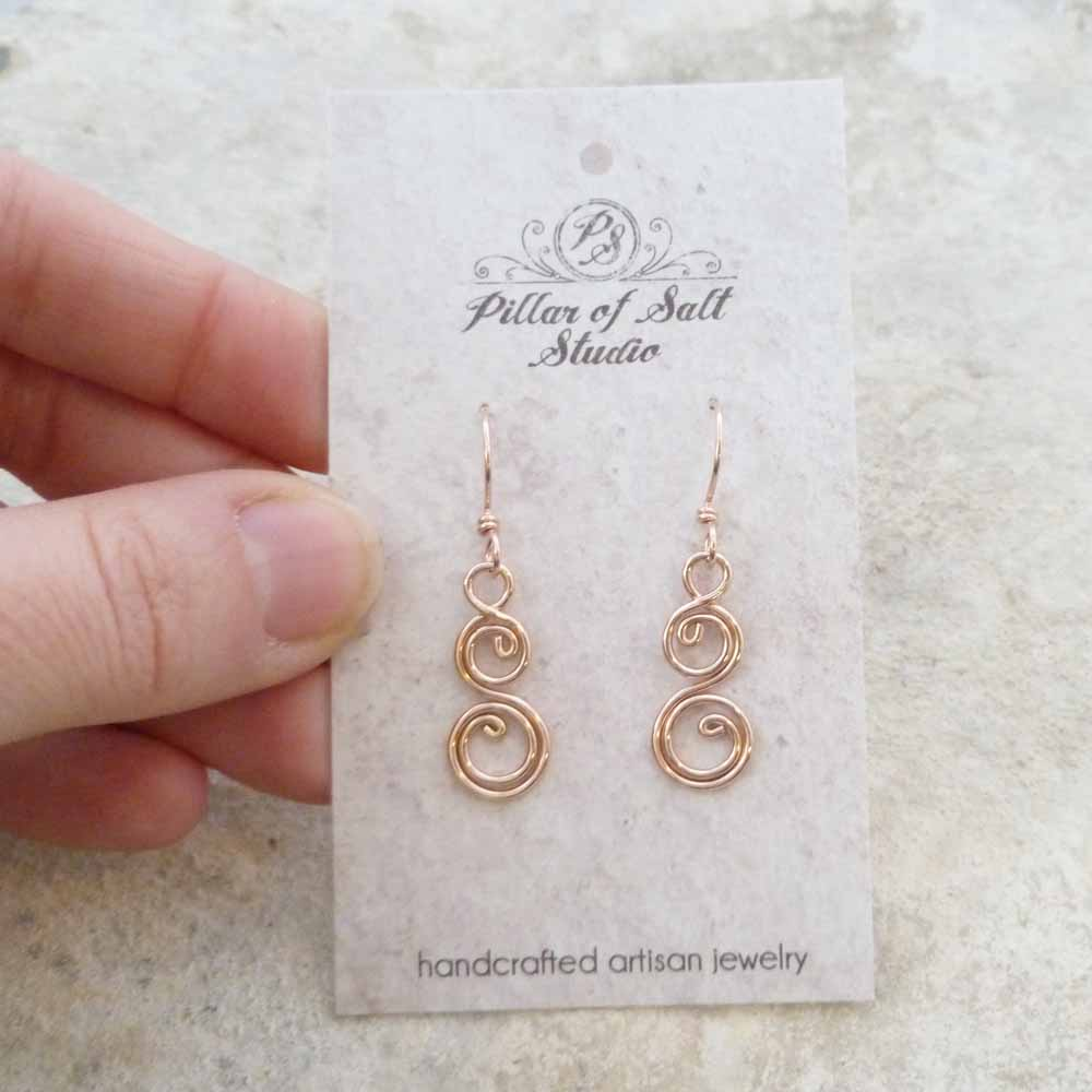 Rose Gold Filled Double Spiral Curlique Earrings