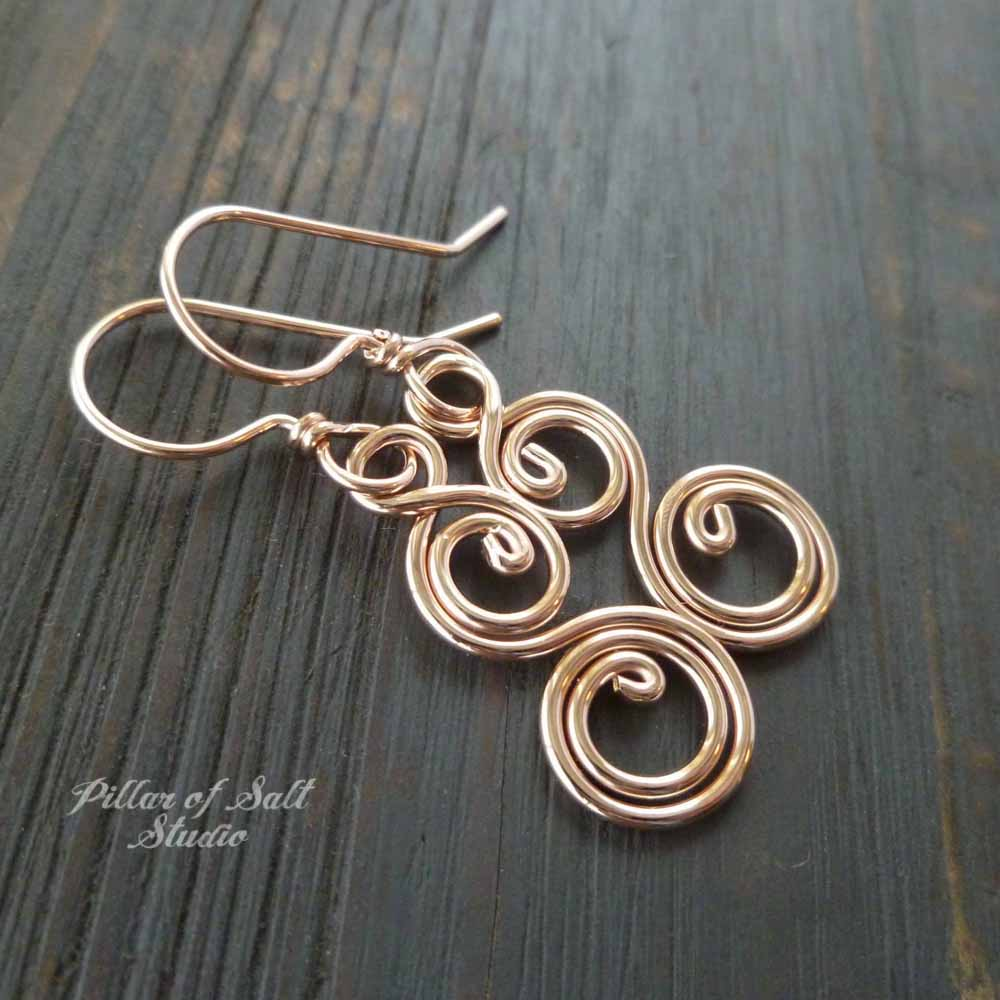 14k rose gold filled wire wrapped earrings - handcrafted jewelry by Pillar of Salt Studio