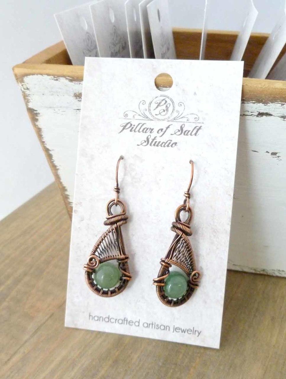 handcrafted woven wire copper earrings - earthy jewelry by Pillar of Salt Studio