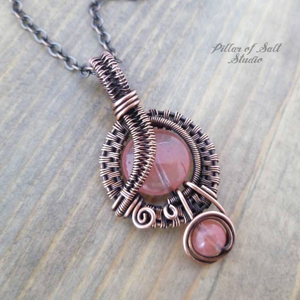 Copper Wire wrapped Cherry quartz crystal pendant necklace