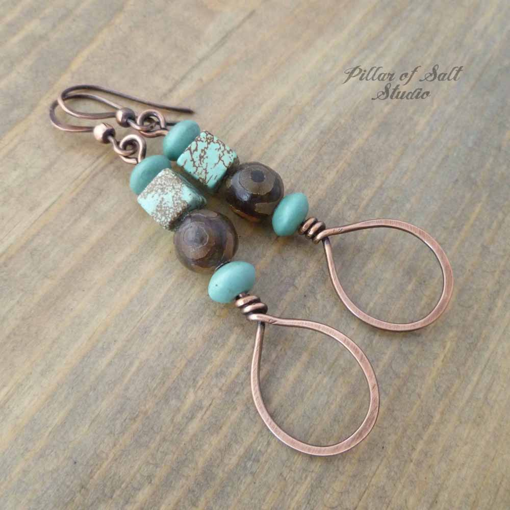 Stacked Teardrop Copper Earrings - Brown and Turquoise