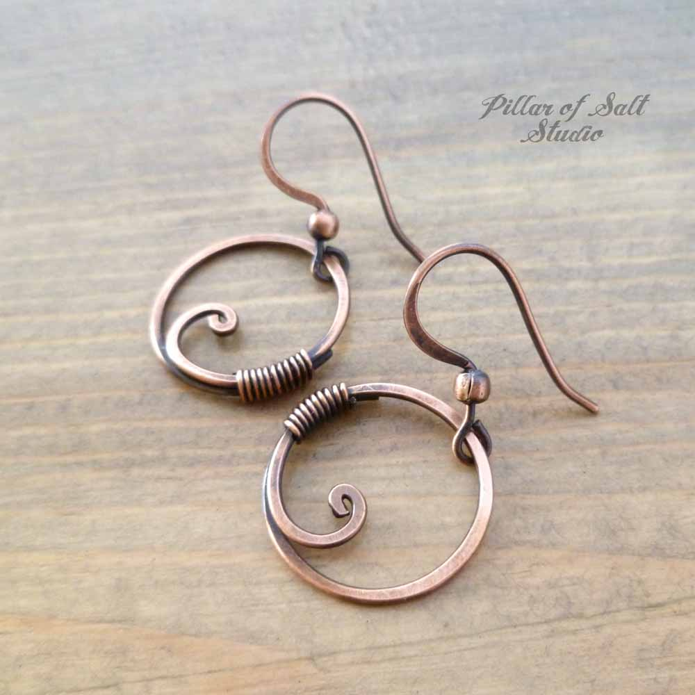 small wire wrapped circle copper earrings handmade by Pillar of Salt Studio